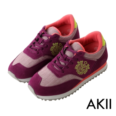 AKII韓國空運 丹寧時尚內增高6公分休閒鞋-桃紫