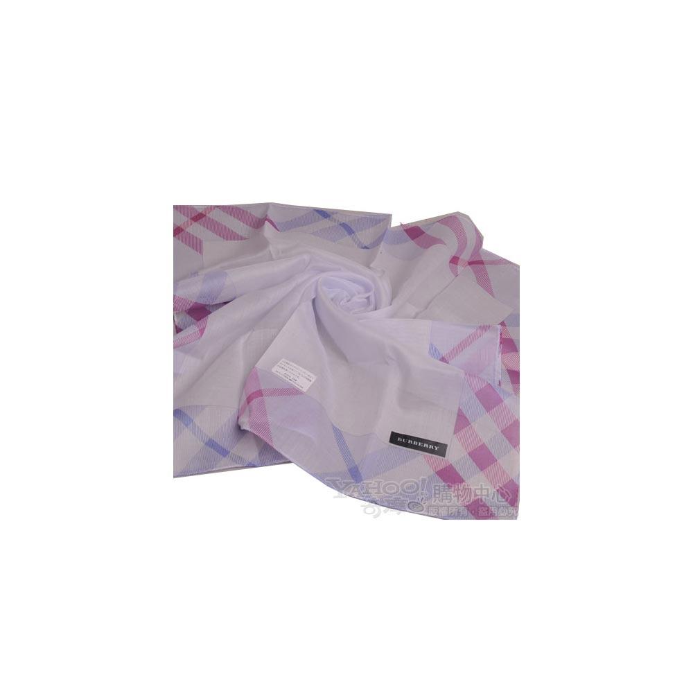 BURBERRY 經典大斜格紋滾邊帕領巾(粉藍紫)
