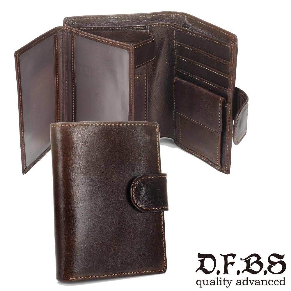 DF BAGSCHOOL皮夾 - 日系古著款牛皮皮革多卡舌扣中夾
