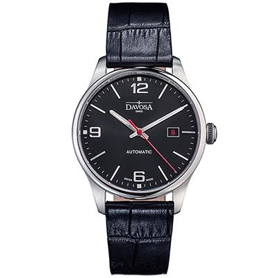 DAVOSA Gentlemen 現代經典紳士系列套裝腕錶-黑面/黑皮帶/40mm