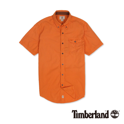 Timberland-男款焦橙色素面單口袋短袖襯衫