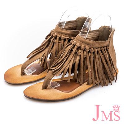 JMS-民族風造型雙層流蘇夾腳羅馬涼鞋-棕色