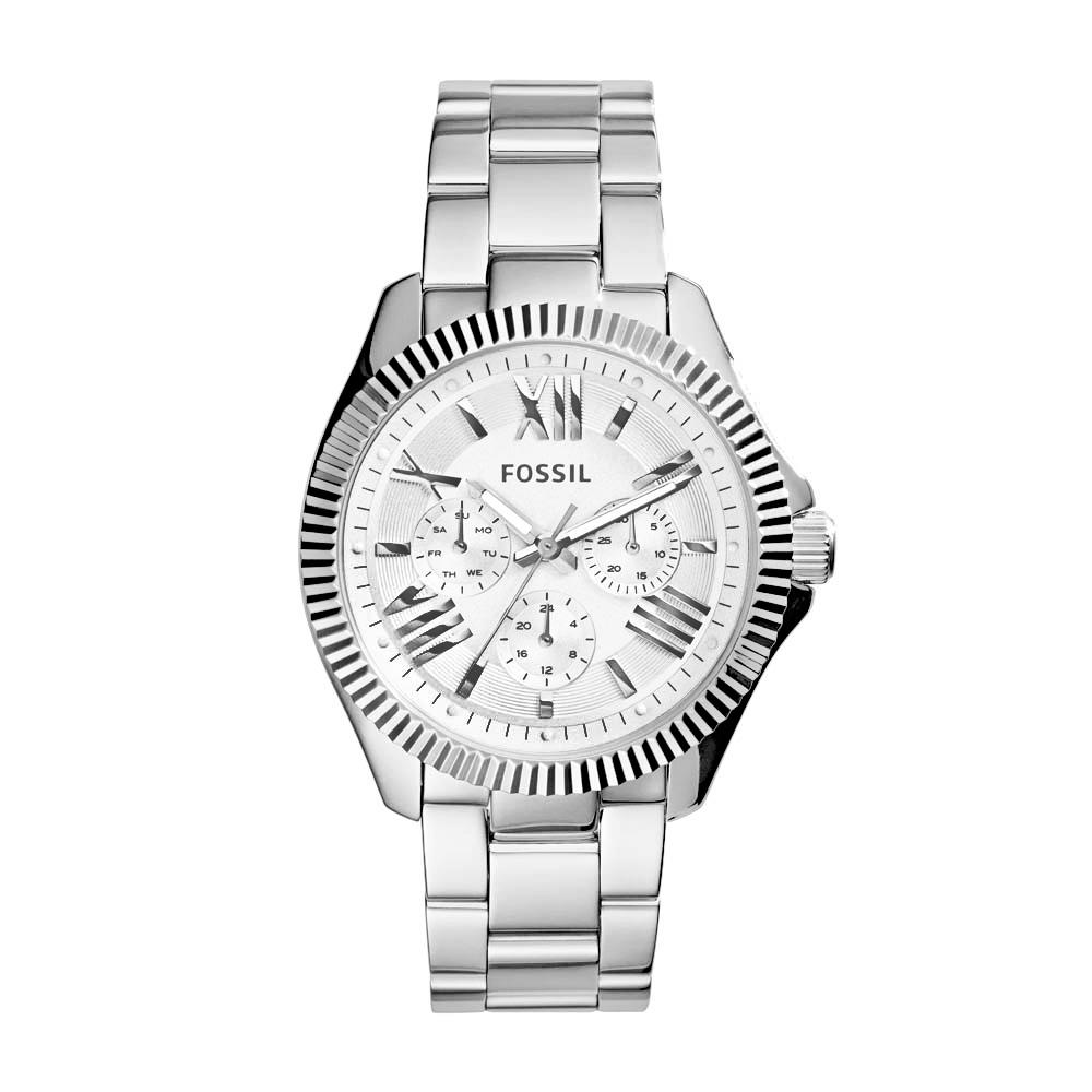 FOSSIL Cecile 華麗羅馬三環不鏽鋼腕錶-銀白/40mm