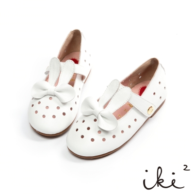 iki2 童鞋-甜心派對鏤空洞洞蝴蝶結真皮娃娃鞋-白