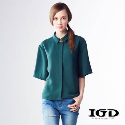 IGD英格麗 短版寬袖修身襯衫-深綠