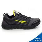 ERKE 鴻星爾克。男運動常規慢跑鞋-正黑/果綠