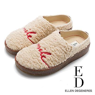 ED Ellen DeGeneres 溫暖絨毛俏皮印花拖鞋-米色