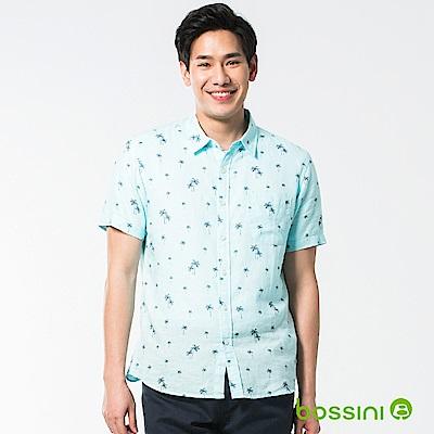 bossini男裝-休閒棉麻短袖襯衫01淺綠松