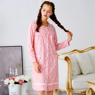 睡衣 精梳棉柔針織 長袖連身睡衣(65207)粉色 活力綿羊 蕾妮塔塔