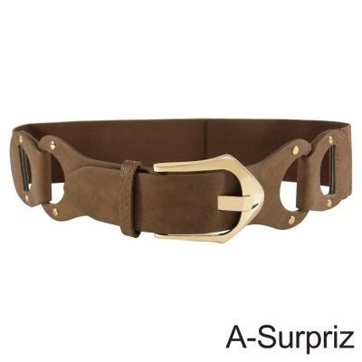 A-Surpriz 釘扣皮革金屬扣環彈性腰帶(淺咖)