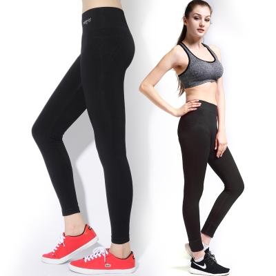 運動褲 原色親膚機能加壓速乾瑜珈運動褲壓力褲-個性黑 LOTUS
