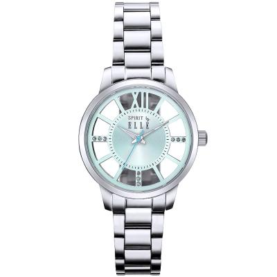 ELLE 璀璨晶鑽鏤空時尚手錶-綠X銀/37mm