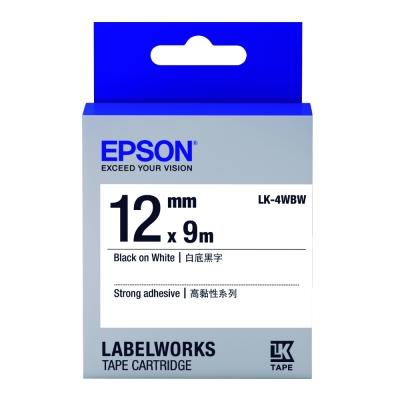 EPSON C53S654410 LK-4WBW高黏性白底黑字標籤帶(寬度12mm)