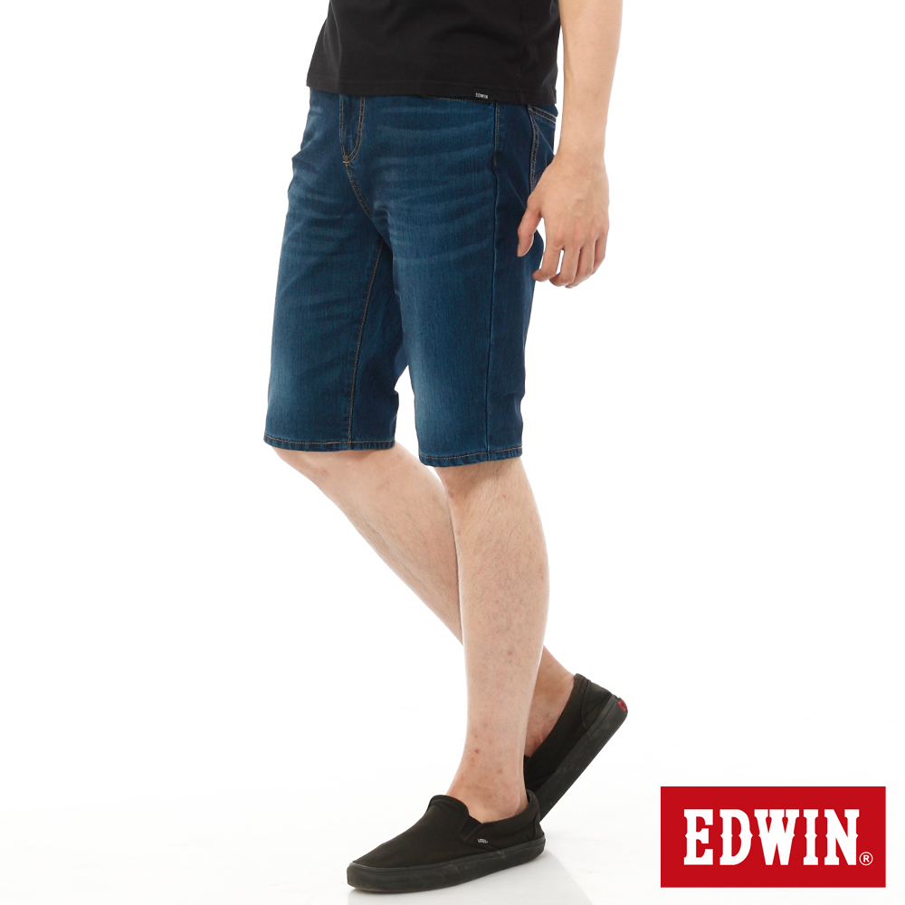 EDWIN 加大碼迦績褲JERSEYS內藏腰頭牛仔短褲-男-酵洗藍