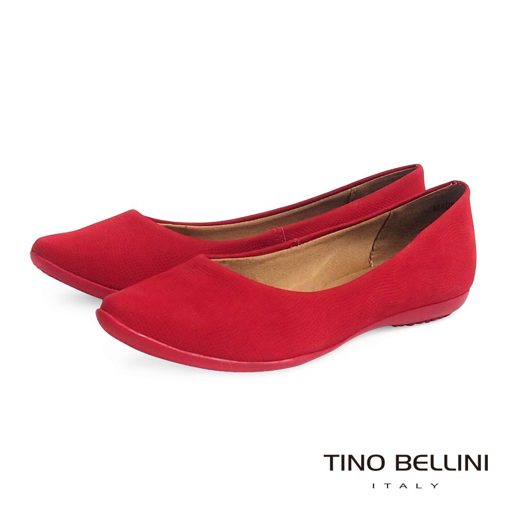 Tino Bellini 巴西進口細緻壓紋真皮舒適娃娃鞋_紅