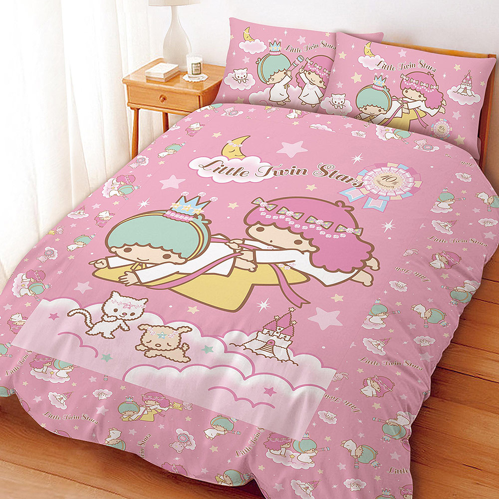 Little TwinStars 雙星仙子40th系列-單人三件式床包兩用被組(粉)