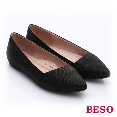 BESO-極簡風格-真皮斜口厚軟墊平底鞋-黑