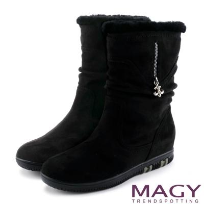 MAGY 暖冬時尚 2WAY抓皺捲毛內增高短靴-黑色