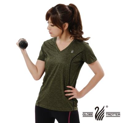 【遊遍天下】女款彈性吸排速乾V領衫GS20006灰綠