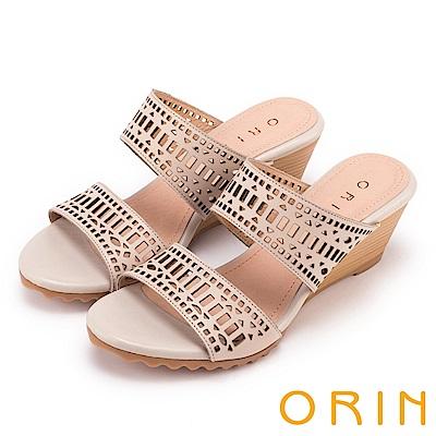 ORIN 夏日異國渡假 幾何簍空牛皮楔型涼拖鞋-米膚