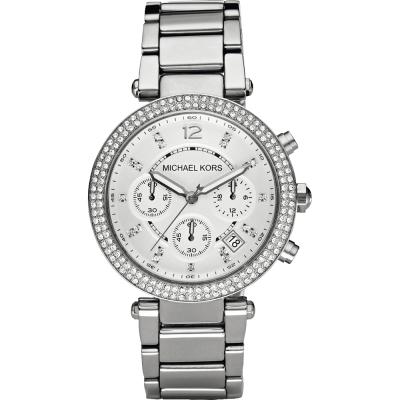 Michael Kors 美式奢華晶鑽三眼計時腕錶-銀