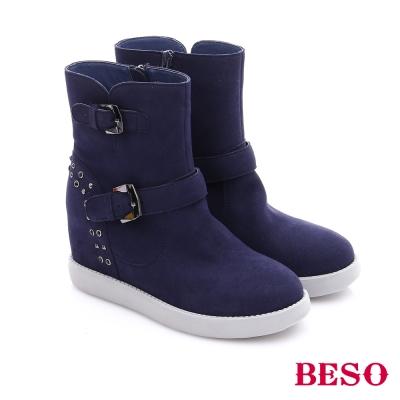 BESO 潮人街頭風 素面水鑽雙扣飾拉鍊內增高短靴  藍色