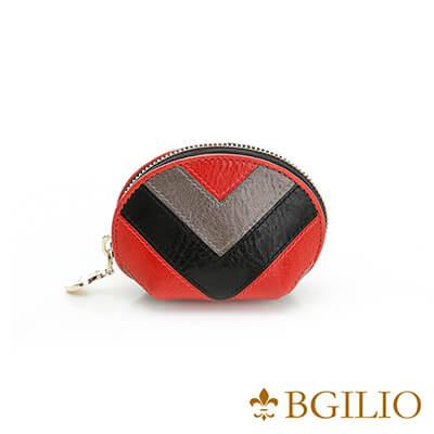 義大利BGilio-蠟感牛皮復古配色零錢包(小)-黑色1954.303-05