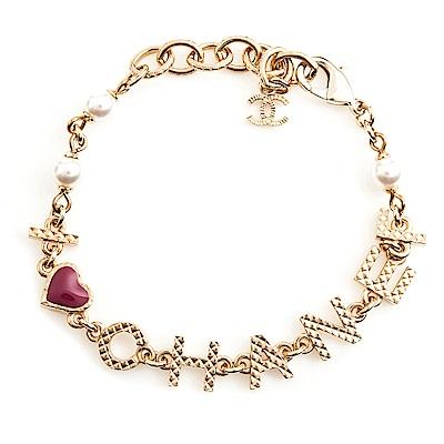 CHANEL 經典雙C LOGO金屬珍珠墬飾英文字母手鍊