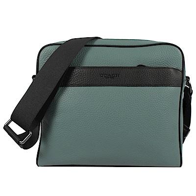 COACH烙印LOGO雙色全牛皮方形拉鍊斜背包(淺綠/黑)