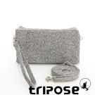 tripose 漫遊系列岩紋簡約微旅手拿/側肩包 灰