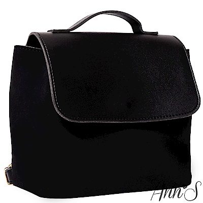Ann'S簡單美好-異材質拼接素面2way後背包-黑