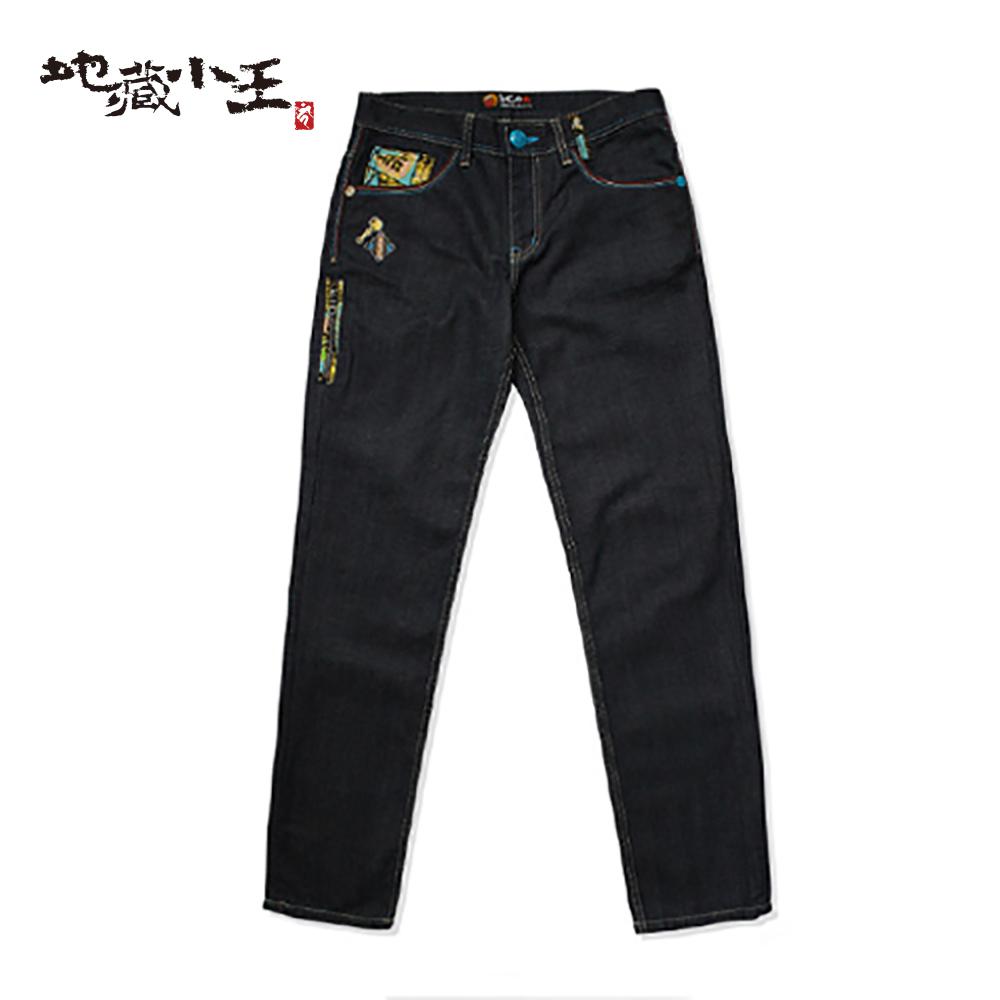 地藏小王 BLUE WAY  地藏右衛門公仔低腰直筒褲-原生藍/淺藍 product image 1