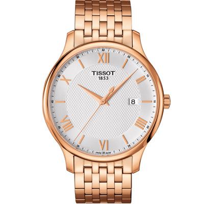 TISSOT TRADITION 古典風格石英腕錶-銀x玫瑰金/42mm