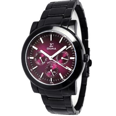 SIGMA 簡約藍寶石鏡面三眼時尚手錶-酒紅X黑/38mm