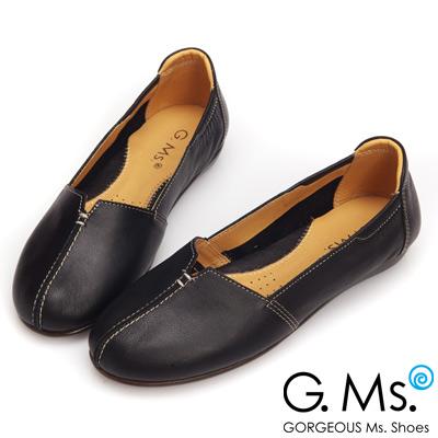 G.Ms. MIT系列-車縫簡約造型真皮娃娃便鞋-個性黑