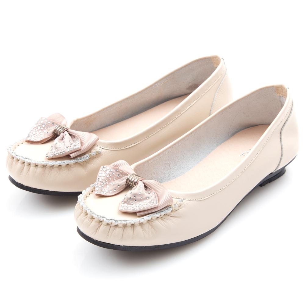 G.Ms. MIT系列-燙鑽蝴蝶結莫卡辛低跟鞋-米白