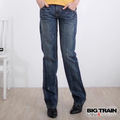 BIG TRAIN-女款 花間鯉魚女直筒褲-中藍