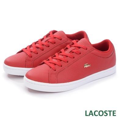 LACOSTE 女用真皮休閒鞋-紅色