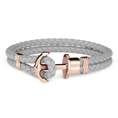 PAUL HEWITT德國出品 PHREP 灰色皮革繩編織 玫瑰金船錨手環 手鍊
