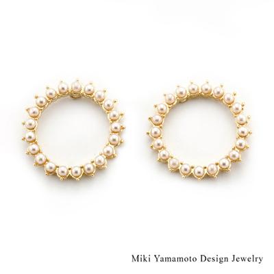 【山本美樹】同心圈 貝寶珠針式耳環