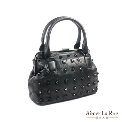 Aimer La Rue 手提側背包 羊皮復古鉚釘大開口系列(黑色)