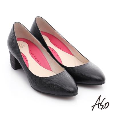 A.S.O 職場女力 壓紋牛皮粗跟高跟鞋 黑色