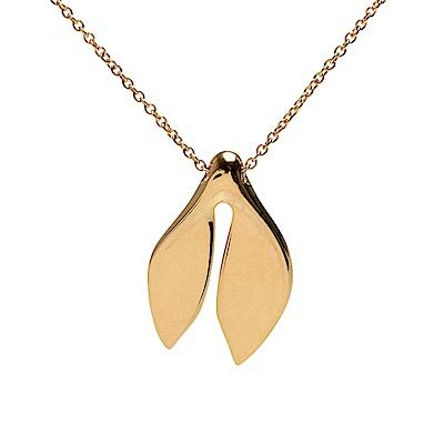 TIFFANY&Co. 18K黃金雙葉造型墜飾項鍊(18K黃金)