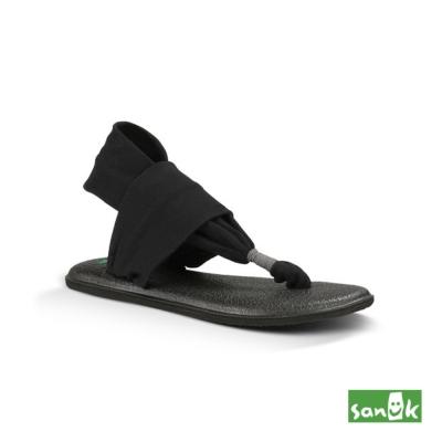 SANUK 素面綁帶人字涼鞋-女款(黑色)