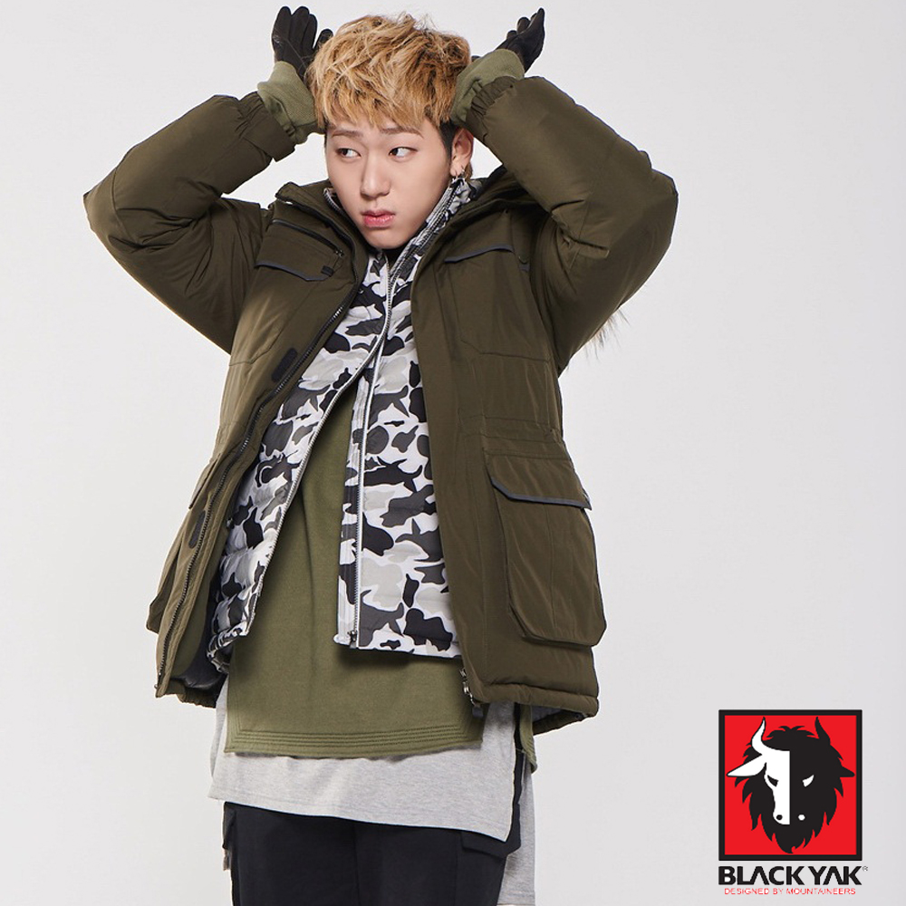 【韓國 BLACK YAK】Gore-Tex 防風防水軍裝帽可拆羽絨外套_橄綠