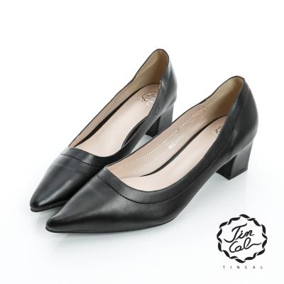 TINCAL-經典名伶-質感皮革簡約素面尖頭跟鞋-黑色