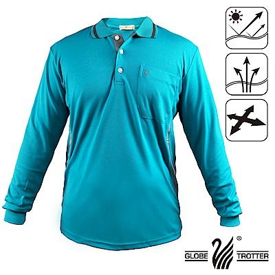 【遊遍天下】台灣製男款抗UV吸濕排汗機能POLO長衫L157水綠
