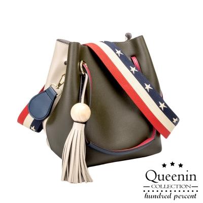 DF Queenin日韓 - 日雜人氣款皮革3WAY水桶包單肩包-共3色