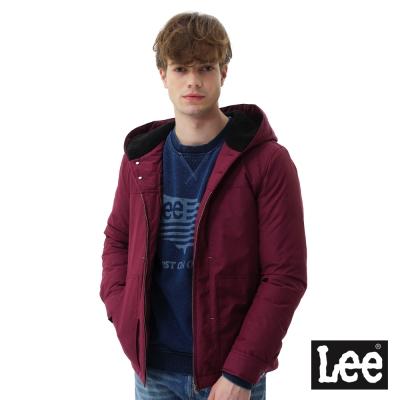 Lee 連帽羽絨外套-男款-藏紅色