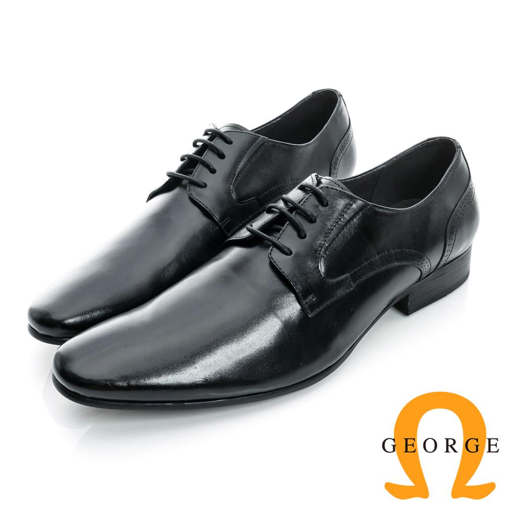GEORGE-經典素面綁帶真皮紳士鞋-黑色